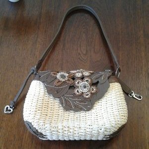 Brighton Straw Purse with Leather Flap Closure